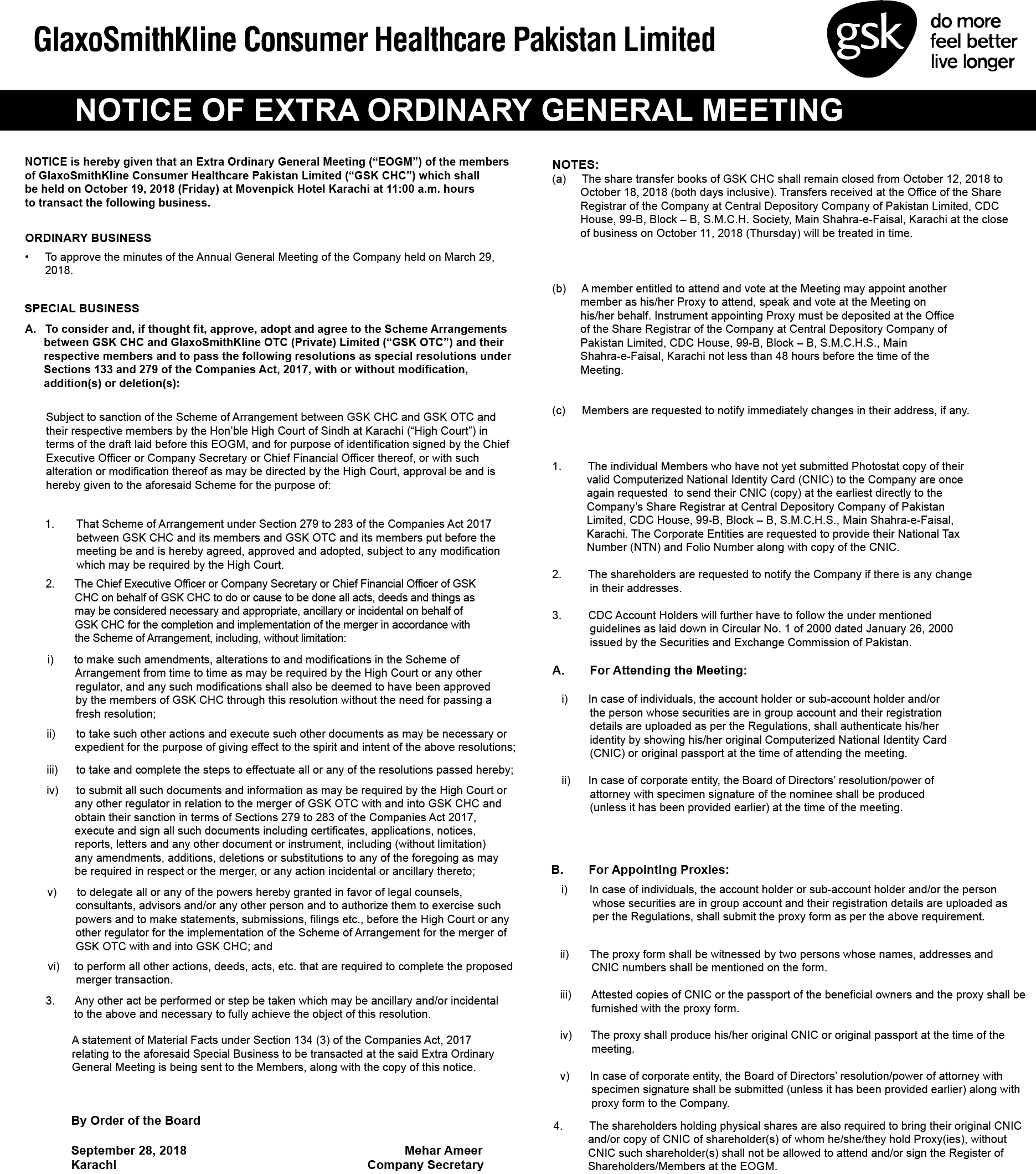 Shareholder Notices and Forms   GSKCH PK